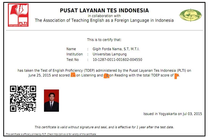 Iya terlampir adalah contoh dokumen sertifikat TKDA dan TOEP yang